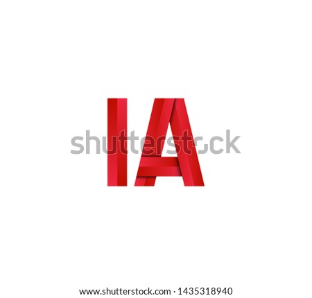 Initial logo 2 letters red vector IA Foto stock ©