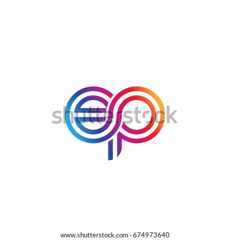 Initial lowercase letter ep, linked outline rounded logo, colorful vibrant colors