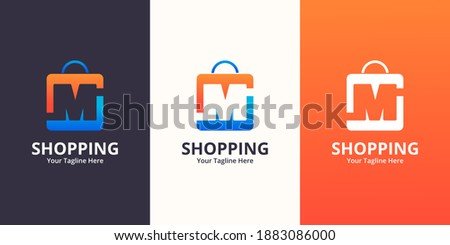 Initial  M Shop Logo designs Template. Illustration vector graphic of  letter and shop bag combination logo design concept. Perfect for Ecommerce,sale, discount or store web element. Company emblem