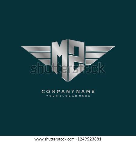 Initial M Z wing logo template vector Stock fotó ©