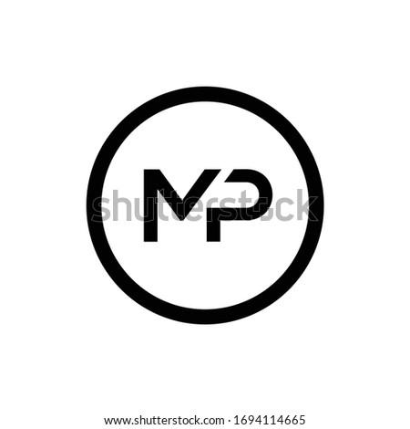 initial mp letter logo design