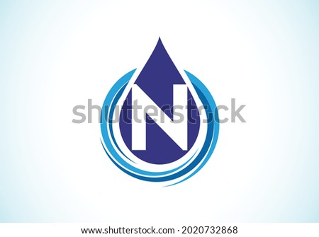 Initial N monogram alphabet with water drop in a spiral. Waterdrop logo design vector template. Font emblem. Modern vector logo for business and company identity Foto stock ©
