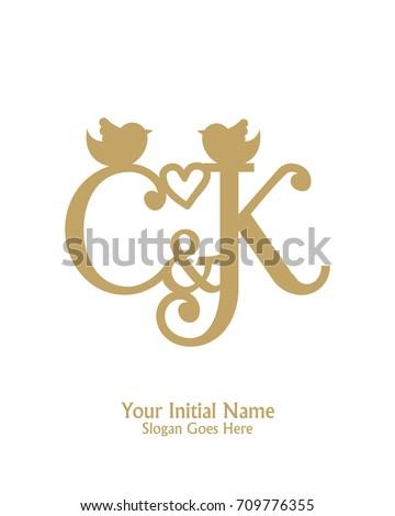 Initial name C & K logo template vector Stok fotoğraf ©