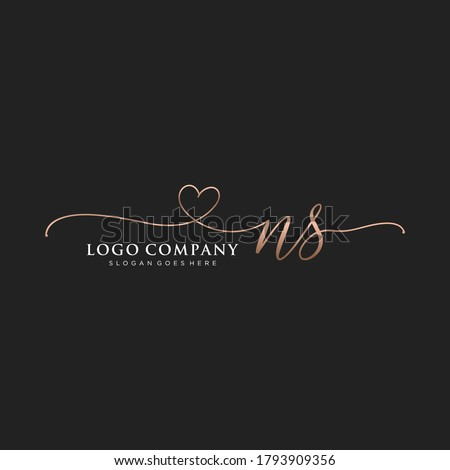 Initial NS beauty monogram and elegant logo design, handwriting logo of initial signature, wedding, fashion, floral and botanical with creative template. Stock fotó ©