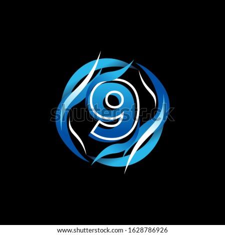 initial number 9 logo design