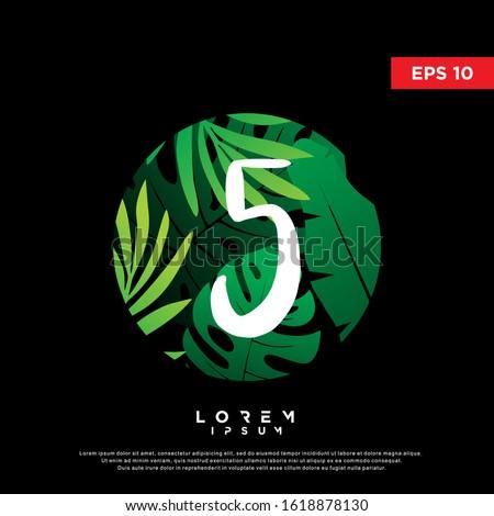initial number 5 tropical logo