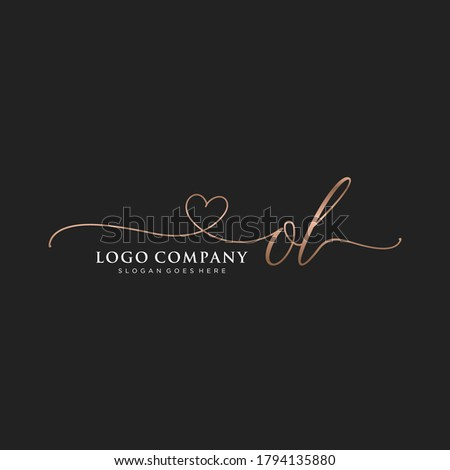 Initial OL  beauty monogram and elegant logo design, handwriting logo of initial signature, wedding, fashion, floral and botanical with creative template. Foto stock ©