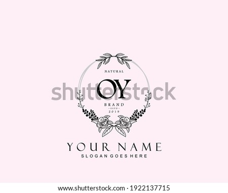 Initial OY beauty monogram and elegant logo design, handwriting logo of initial signature, wedding, fashion, floral and botanical with creative template. Stok fotoğraf ©