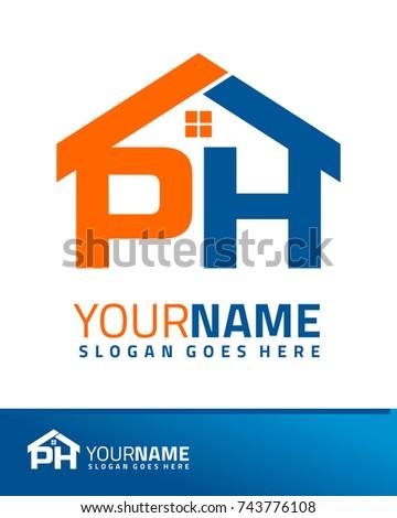 Initial P & H real estate logo template vector