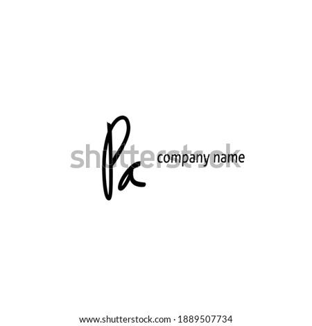 Initial pa logo handwriting vector Stock fotó ©