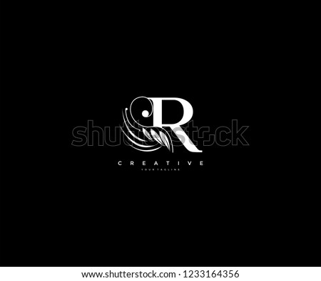 Initial R letter luxury beauty flourishes ornament monogram logo Stock fotó ©