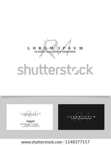 Initial R M brush logo identity vector template
