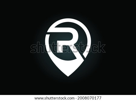 Initial R monogram letter alphabet with location icon pin sign. Font emblem. Navigation map, GPS, direction, place, compass, contact, search concept. Modern vector logo design for business and company Stock fotó ©