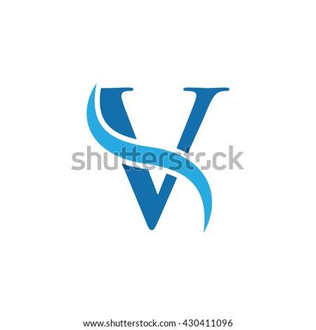 initial swoosh logo simple v