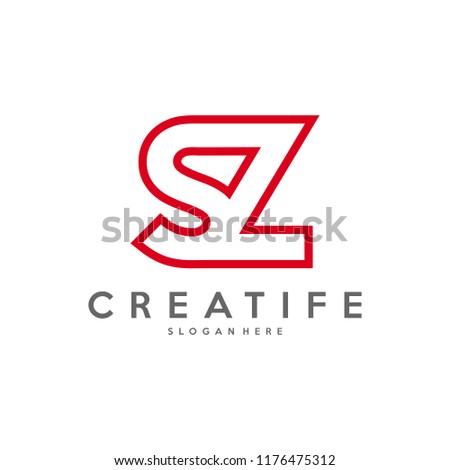 Initial SZ logo concepts template vector Stock fotó ©
