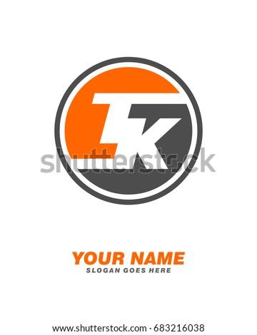 Initial T K circle logo template vector Stok fotoğraf ©