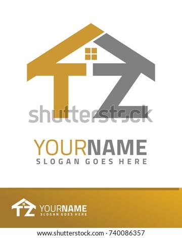 Initial T & Z real estate logo template vector Stock fotó ©