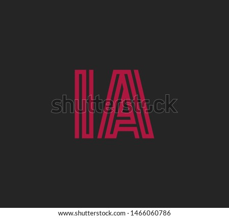 Initial two letter red line shape logo on dark background vector IA Foto stock ©
