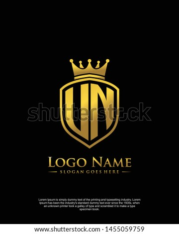 initial UN letter with shield style logo template vector