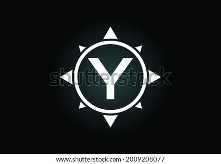 Initial Y monogram letter alphabet in a compass. Font emblem. Compass logo sign symbol. Modern vector logo design for business and company identity. Zdjęcia stock ©