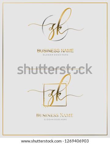 Initial Z K ZK handwriting logo vector. Letter handwritten logo template. Stock fotó ©