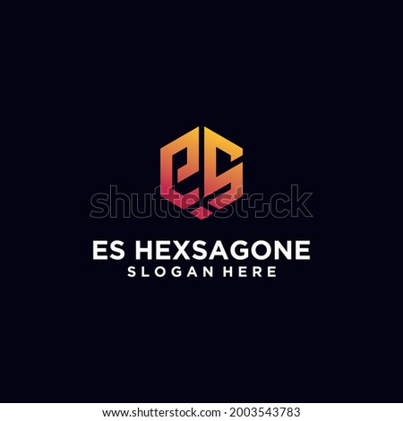 Initials E,ES hexagon logo monogram logo ES hexagon logo design concept vector, hexagon logo design template with luxurious gradient color Foto stock ©