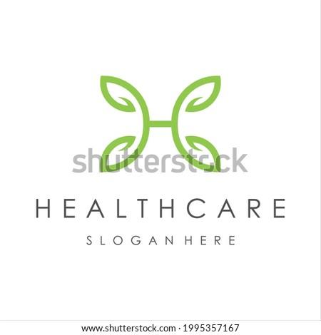 initials H Letter, healthcare nature logo design template vector illustration. Stock fotó ©