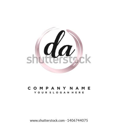initials letter DA handwriting logo vector template Stok fotoğraf ©