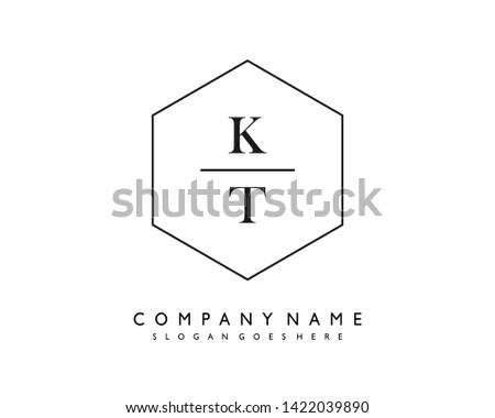 initials letter KT handwriting logo vector template Stok fotoğraf ©