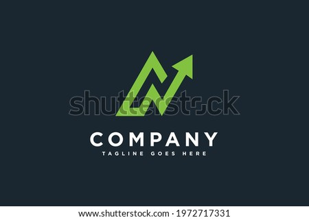 Initials letter N with statistic arrow logo design vector illustration. Letter N suitable for business and management consulting logos Stock fotó ©