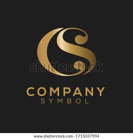 Initials Monogram CS SC Letter logo design.Minimal elegant CS black and gold color initial based letter icon logo Stock fotó ©