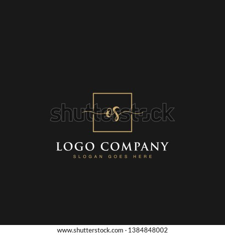 Initials signature letters OS linked inside minimalist luxurious square line box vector logo gold color designs isolated in black background for brand, hotel, boutique, jewelry, restaurant or company