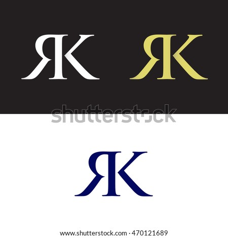 Initials with letter R and letter K Stock fotó ©