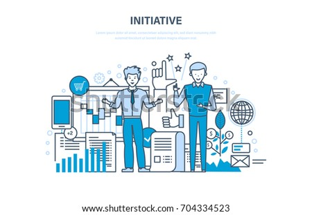 Initiative concept. Active activity, enterprise, start-up and growth, success in business, investment growth and finance. Illustration thin line design of vector doodles, infographics elements.