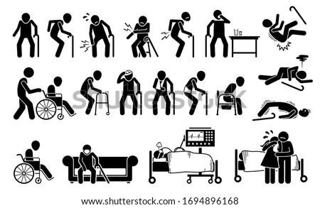 Injured old man with body ache and joint pain. Vector illustrations of elderly men with injury using wheelchair, bandage plaster cast for broken bone. People on ventilator respirator at ICU hospital.