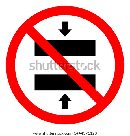 Injury Hazard Crush Hazard Closing Mold Symbol Sign, Vector Illustration, Isolate On White Background Label .EPS10