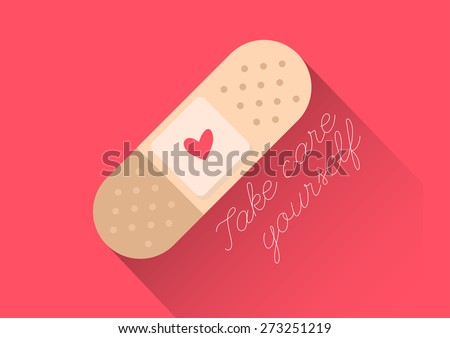 injury tape plaster flat design vector style with text