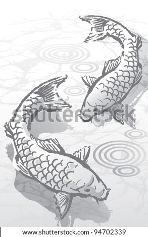 Ink Brush Koi Fish