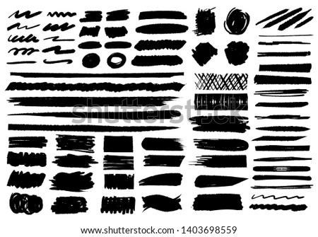 Ink Brushes strokes vector set collection background. #1403698559