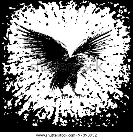 Ink crow. Vector illustration with the black ink effect.