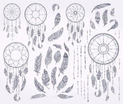 Ink doodle Dream catchers,Vintage dreamcatcher collection.Native american,aztec feathers,Rustic tribal patterned set with decoration isolated elements.Hand drawn sketch,decorative vector illustration.