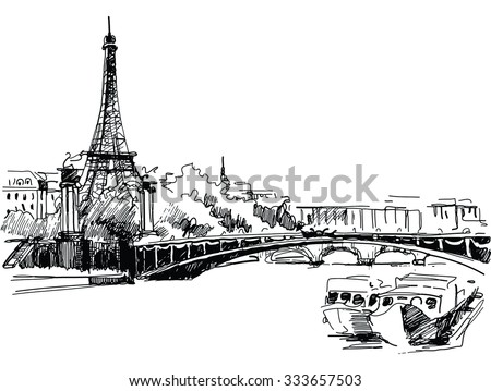 Ink drawing of the Cathedral of Eiffel Tower in Paris against river - vector stock photo