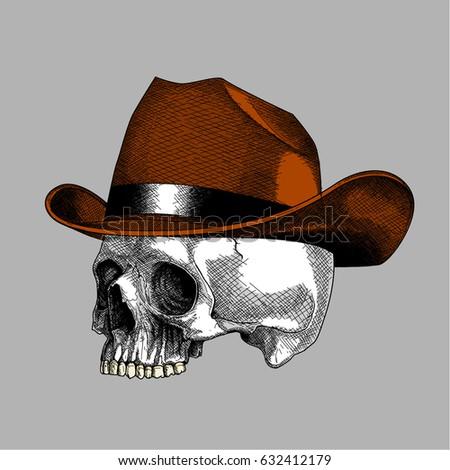 ink drawing skull cowboy  bone
