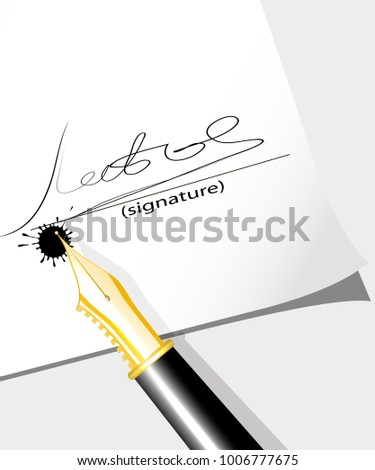 ink feather leaves the signature on the document a vector illust