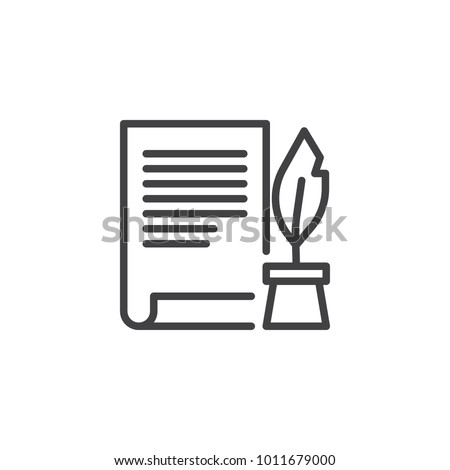 Ink feather pen and scroll paper line icon, outline vector sign, linear style pictogram isolated on white. Write will testament symbol, logo illustration. Editable stroke