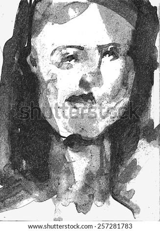 ink hand drawn female portrait