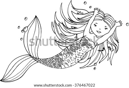 ink hand drawn little mermaid