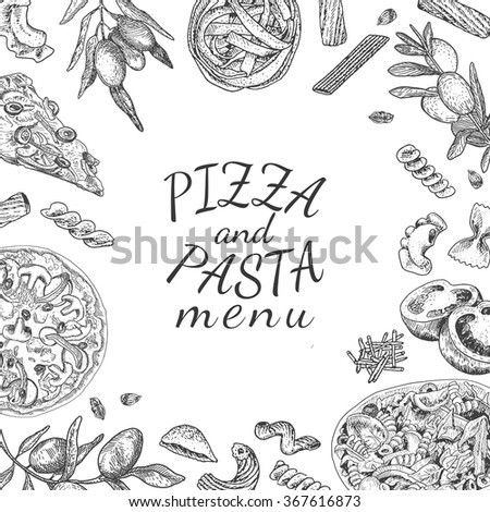 ink hand drawn pizza and pasta