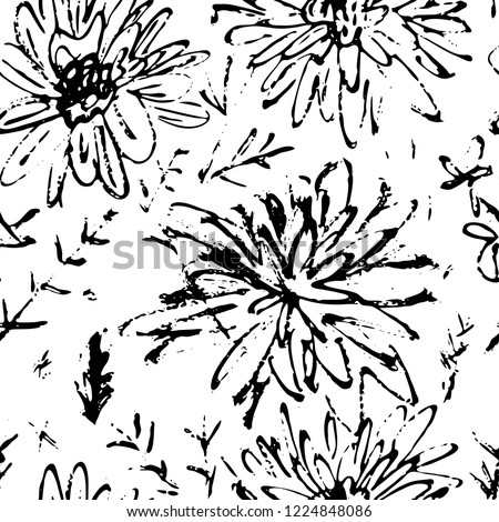 Ink hand drawn seamless pattern. Wild flowers and geometric elements for design. White background. #1224848086