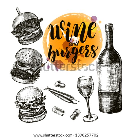Ink hand drawn set of various various burgers and bottle of wine with a glass. Food elements collection for menu or signboard design with brush calligraphy style lettering. Vector illustration.